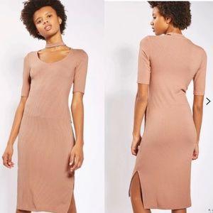 topshop | choker neck ribbed midi dress